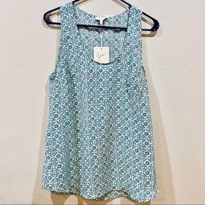 Joie Rain B Silk Print Top Navy Blue Teal Size L
